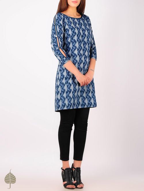 Steel Blue - Grey Hand woven Ikat Button Detailed Cutout Sleeve Cotton Tunic by Jaypore