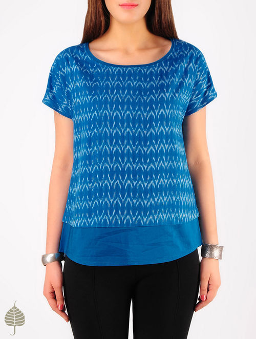 Blue - Ecru Hand woven Ikat Cotton Top by Jaypore