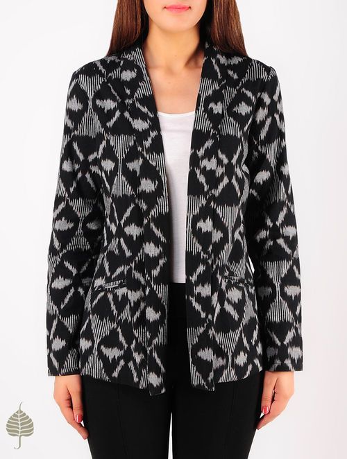 Black - Grey Hand woven Ikat Cotton Jacket by Jaypore