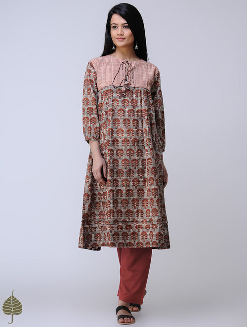 Beige-Madder Block-printed Cotton Kurta with Tassels by Jaypore