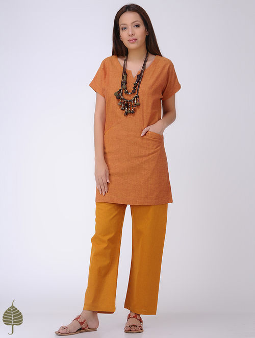 Orange Mangalgiri Cotton Tunic by Jaypore