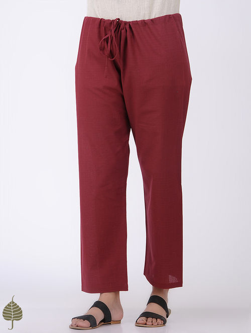 Red Tie-up Waist Mangalgiri Cotton Pants by Jaypore