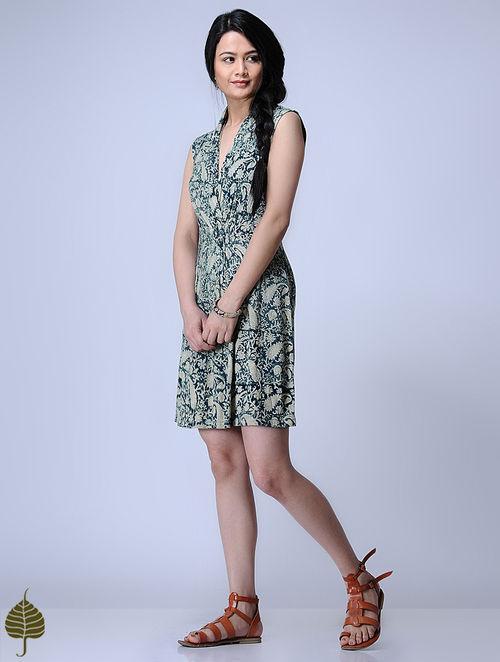 Indigo Knitted Kalamkari Viscose Slub Dress with Zari Detail by Jaypore