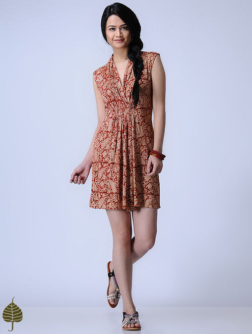 Madder Knitted Kalamkari Viscose Slub Dress with Zari Detail by Jaypore
