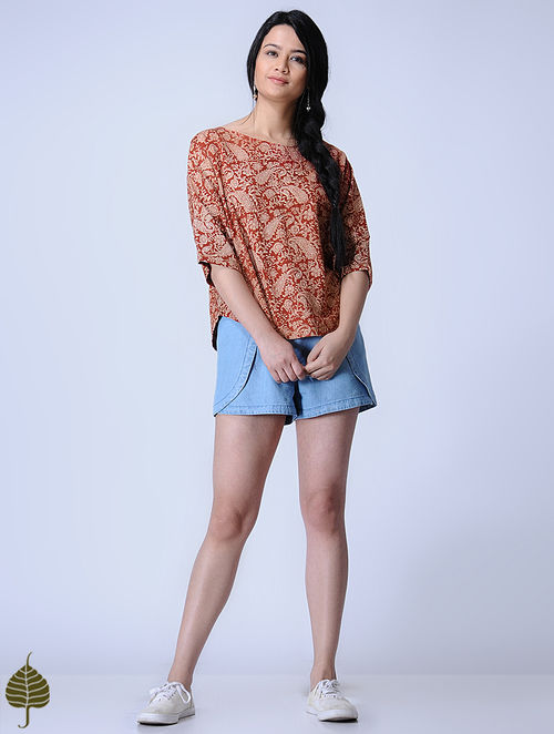 Madder Knitted Kalamkari Cotton Modal Top with Zari Detail by Jaypore