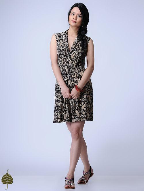 Black Knitted Kalamkari Viscose Slub Dress with Zari Detail by Jaypore