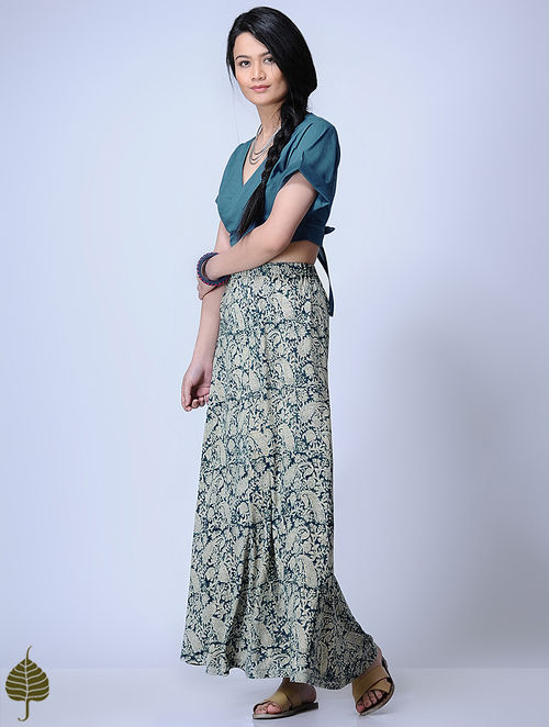 Indigo Knitted Kalamkari Viscose Slub Skirt by Jaypore