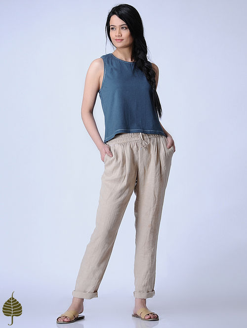 Indigo Knitted Cotton Modal Top with Zari Detail by Jaypore
