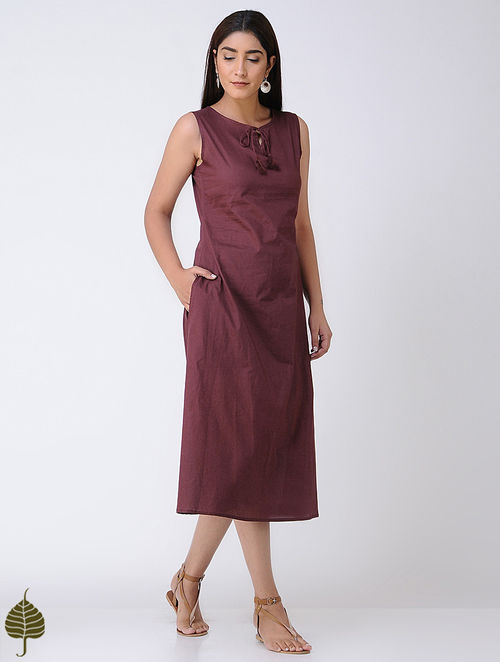 Maroon Cotton Mul Dress by Jaypore