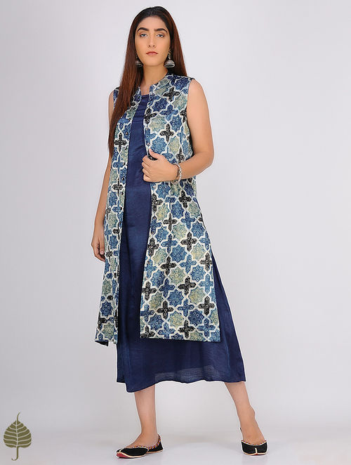 Multicolor Ajrakh-printed Front Open Mashru Jacket by Jaypore