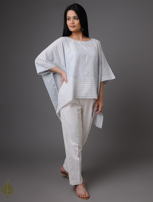 Blue-White Handloom Khadi Top by Jaypore