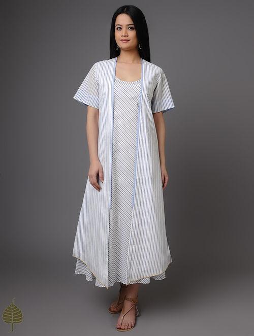 Buy Blue White Handloom Khadi Jacket With Dress By Jaypore