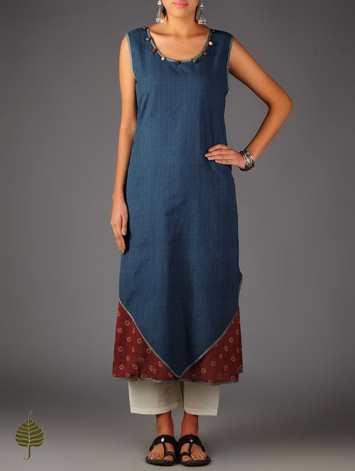 Blue - Red Ajrakh Layered Cotton Kurta By Jaypore