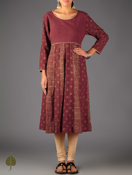 Red - Ecru Ajrakh Kalidar Cotton Kurta By  Jaypore