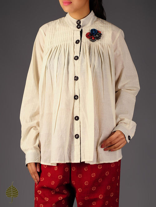 Ivory - Black Pintuck Ajrakh Detailed Cotton Shirt By Jaypore