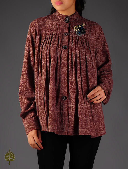 Maroon - Ecru Ajrakh Pintuck Cotton Shirt By Jaypore