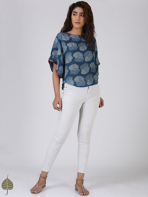 Indigo-Red Printed Linen Top by Jaypore