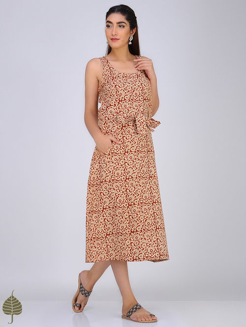 Red-Ivory Block-Printed Cotton Dress with Belt by Jaypore
