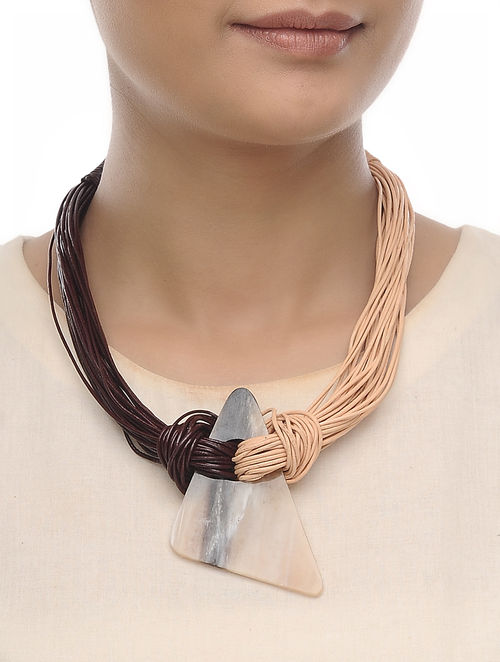 Beige- Brown Leather and Horn Necklace