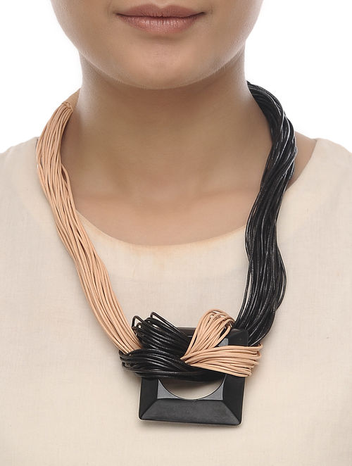 Beige- Black Leather and Horn Necklace