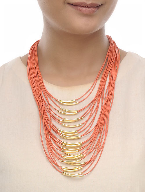 Orange Cotton Thread Necklace