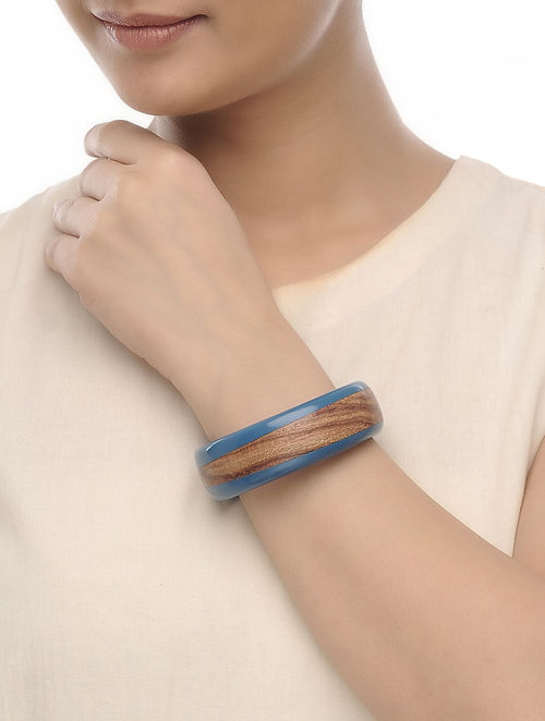 Blue Resin and Wood Bangle