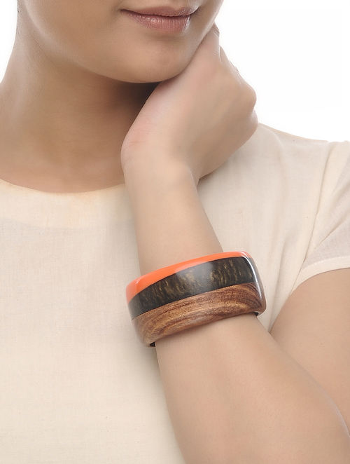 Orange-Black Resin and Wood Bangle