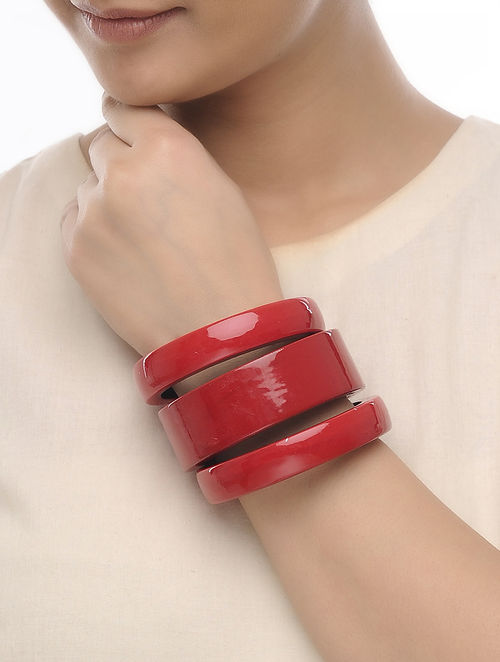 Red Wood Bangles (Set of 3)