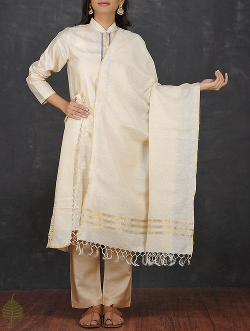 Cream Silk Dupatta with Zari Border by Jaypore