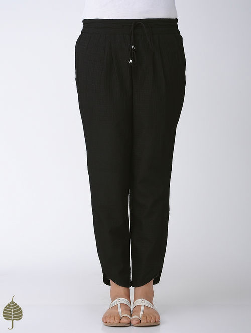 Buy Black Elasticated Tie Up Waist Handloom Cotton Pants