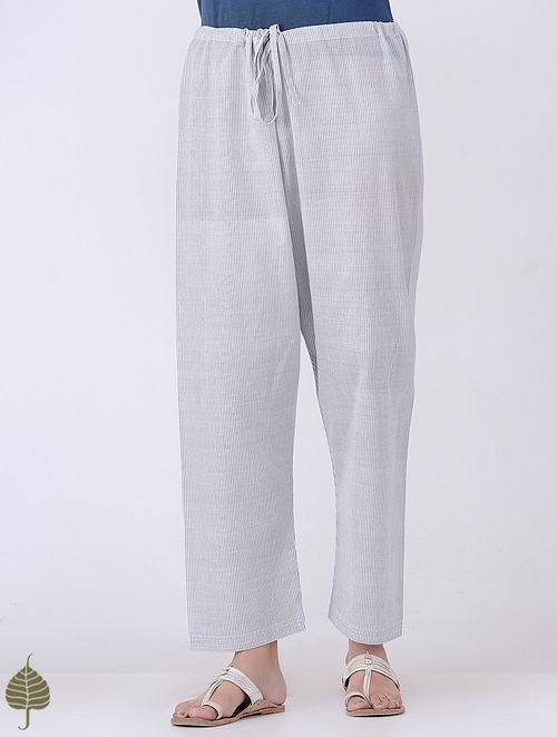 Ivory-Grey Tie-up Waist Handloom Cotton Pants by Jaypore