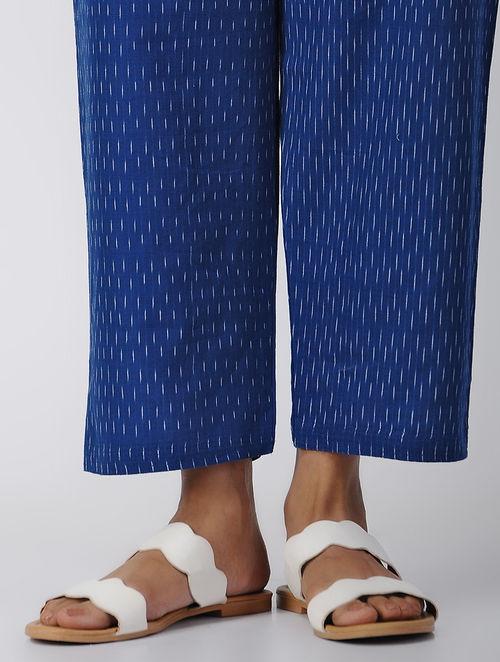 Blue -Ivory Tie-up Waist Handloom Cotton Ikat Pants by Jaypore