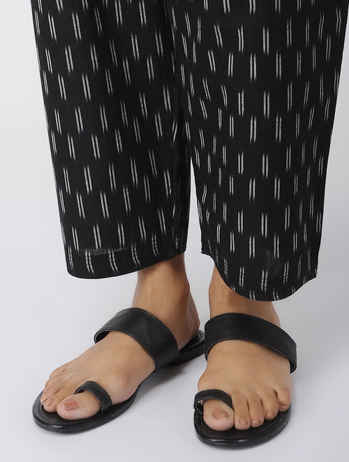 Black -Ivory Tie-up Waist Handloom Cotton Ikat Pants by Jaypore