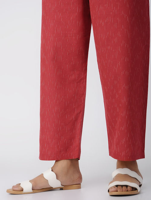 Red -Ivory Tie-up Waist Handloom Cotton Ikat Pants by Jaypore