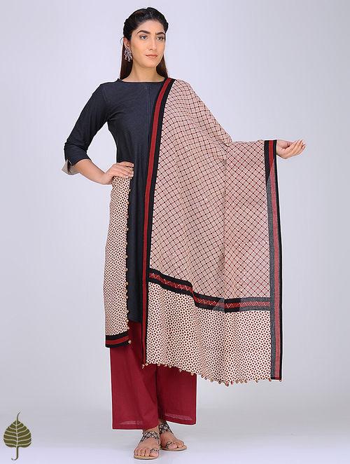 Madder-Black Block-Printed Cotton Dupatta with Mukaish by Jaypore