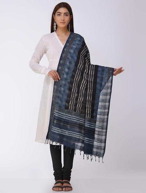 Black-Indigo Ajrakh Handloom Cotton Dupatta by Jaypore