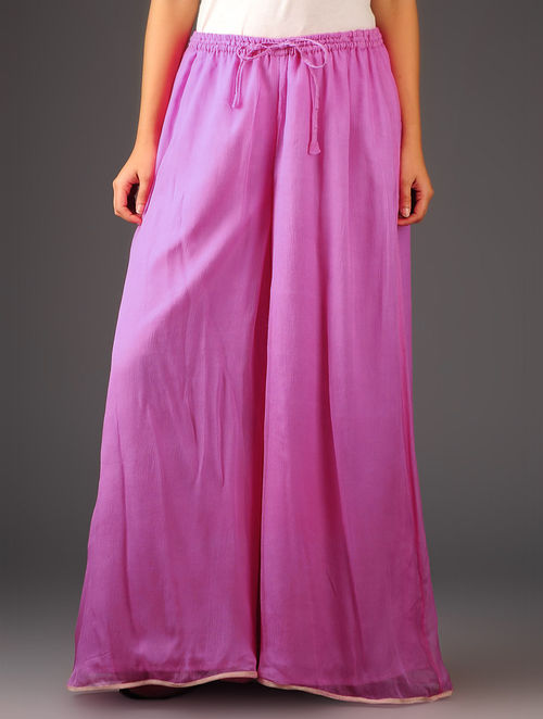 Pink-Golden Chiffon-Tissue Elasticated Waist Palazzos-Free Size