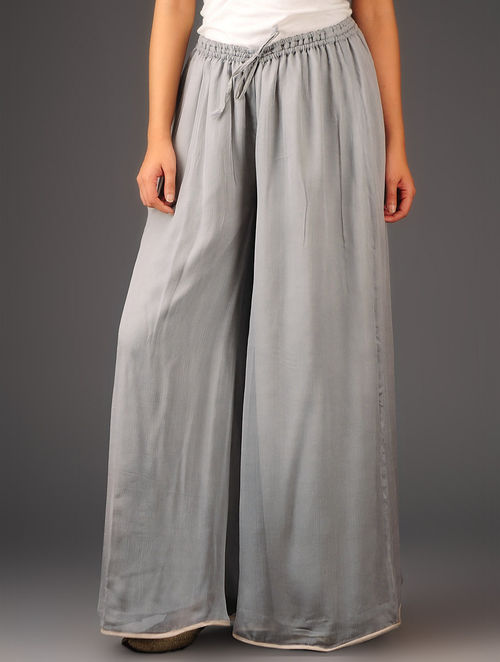 Grey-Golden Chiffon-Tissue Elasticated Waist Palazzos-Free Size