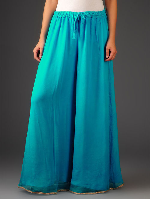 Turquoise-Golden Chiffon-Tissue Elasticated Waist Palazzos-Free Size