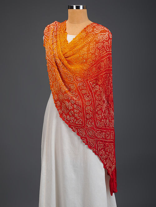 Buy Yellow Red Bandhani Gajji Silk Dupatta Online At