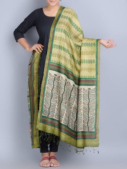 7ca33422899c2 Buy Green -Multi-Color Silk Hand Block Printed Dupatta Online at ...
