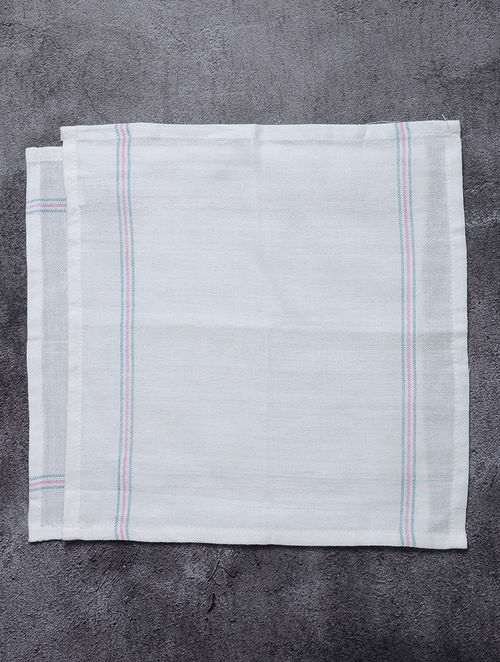 White-Blue Striped Cotton Utility Napkins (Set of 2)