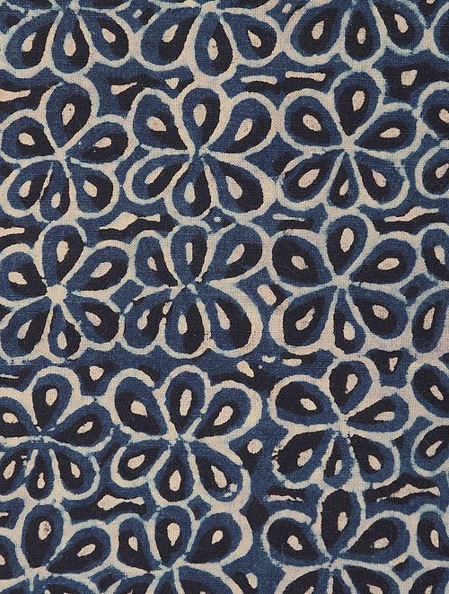Blue Beige Ajrakh Printed Cotton Fabric