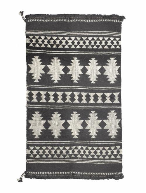 Buy Black White Tribal Woollen Durrie 60in X 38in Online