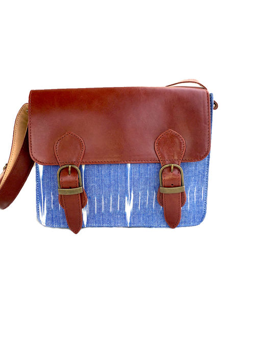 84cb7f6d8 Buy Tan-Blue Ikat Hand-Printed Cotton and Leather Sling Bag Online ...