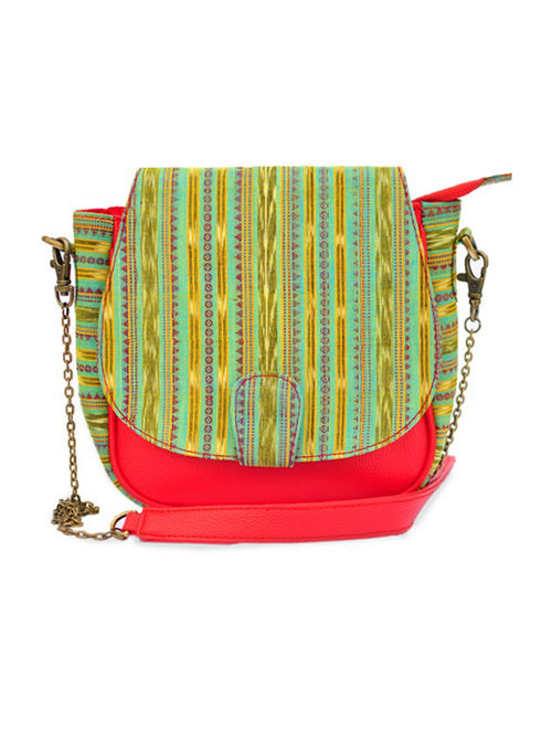 62b9a5421b2 Buy Red-Green Ikat Handwoven Cotton and Leatherite Sling Bag ...