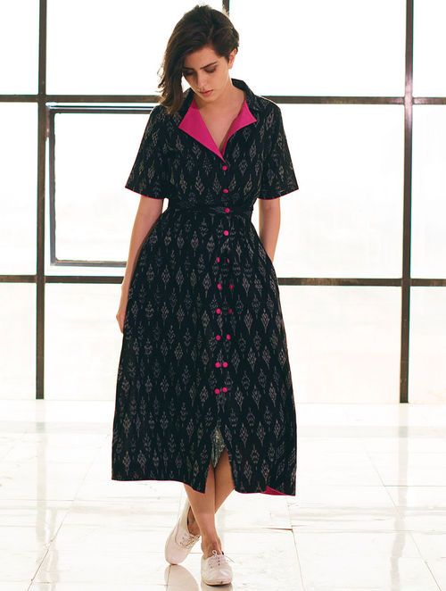 Buy Black Fuschia Button Detailed Ikat Handloom Cotton