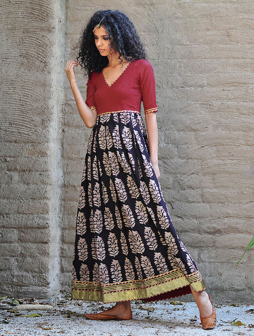 Buy Red Black Natural Dyed Block Printed Box Pleated