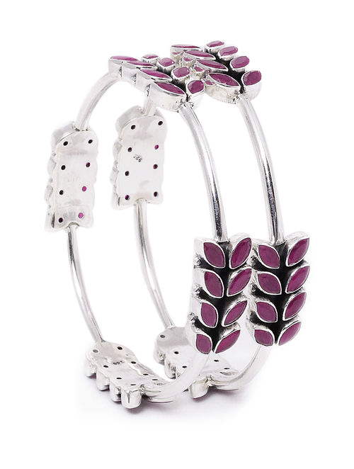 jewellery online bangles set of bangle pink silver buy semi precious stones at size