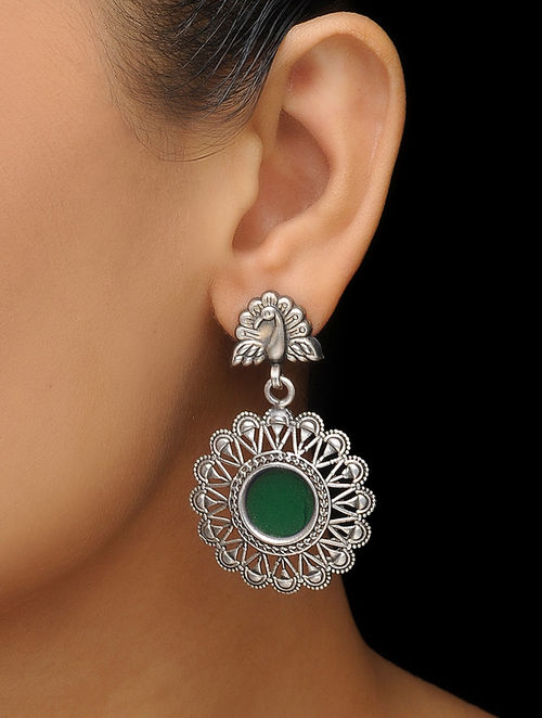 Buy Green Glass Silver Earrings With Peacock Design Online At